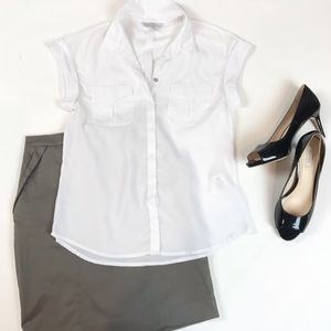 H&M Sheer White SS Button Down Top Blouse